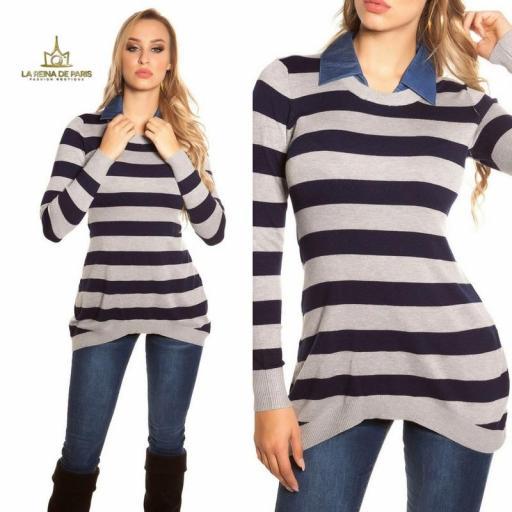 Jumper largo fashion con cuello de jean  [3]