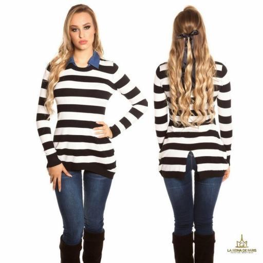 Jumper trendy largo con cuello de jean