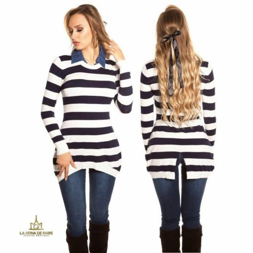 Jumper largo chic con cuello de jean