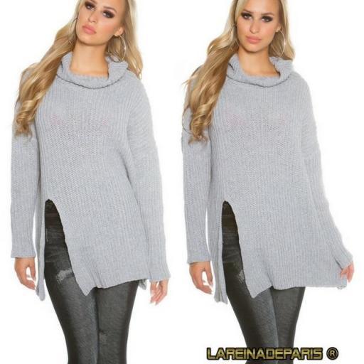 Jersey gris largo de punto con abertura [1]