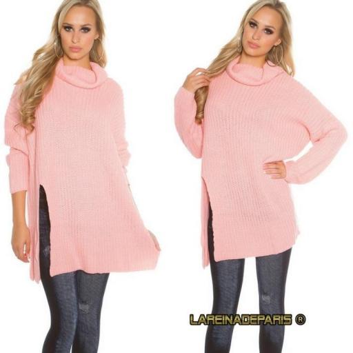 Jersey rosa largo de punto aberturas [1]