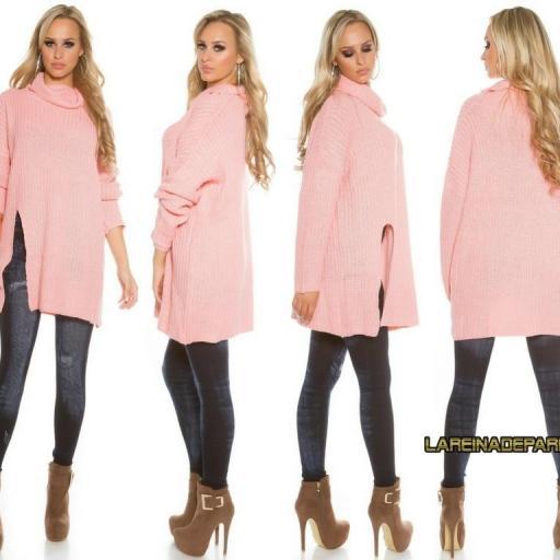 Jersey rosa largo de punto aberturas