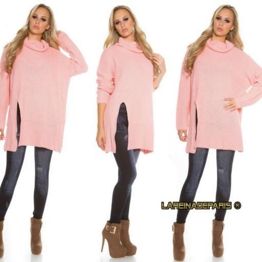 Jersey rosa largo de punto aberturas [2]