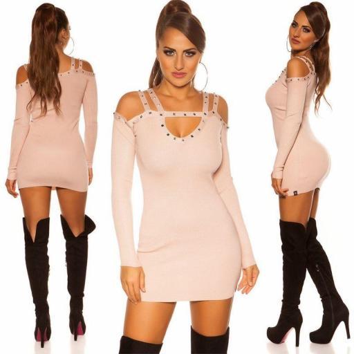 Jersey largo| vestido con remaches rosa