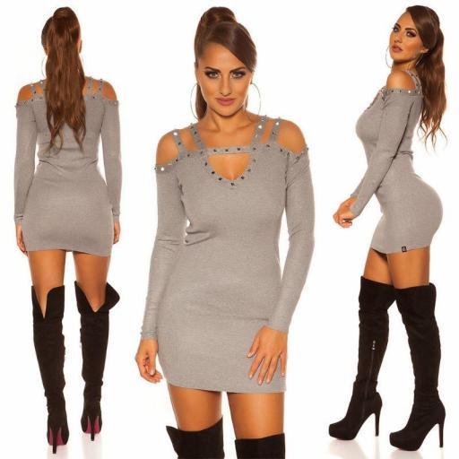 Jersey largo | vestido con remaches gris