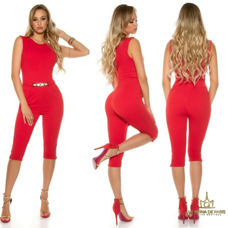 Capri jumpsuit rojo