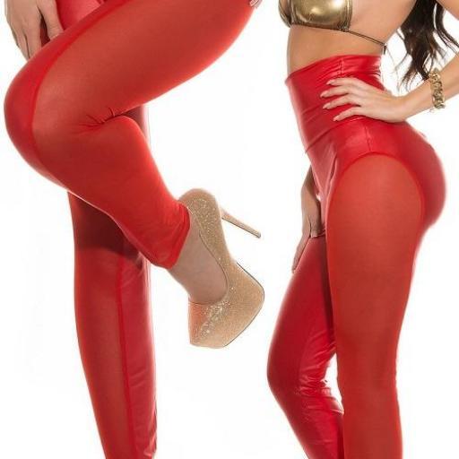 Leggings rojos de cintura alta atractivo [1]