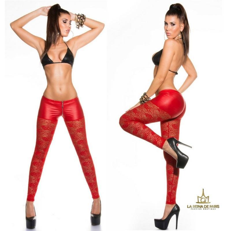 Leggings hot de encaje rojo