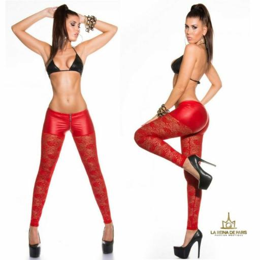Leggings hot de encaje rojo