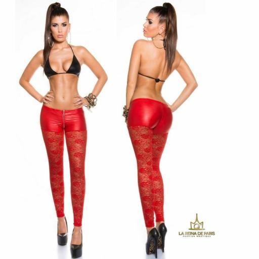 Leggings hot de encaje rojo [3]
