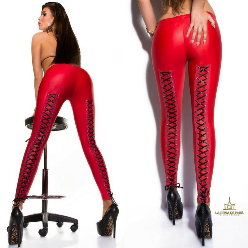 leggings atractivos cordones rojo
