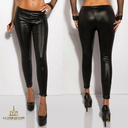 Leggings de color negro brillantes