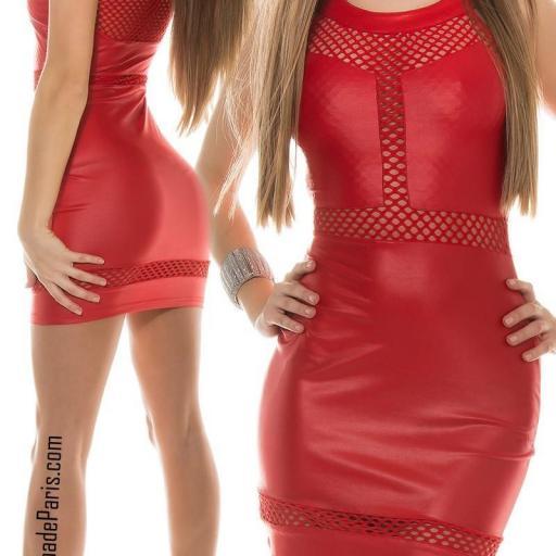 Vestido cuero rojo potencia tu estilo