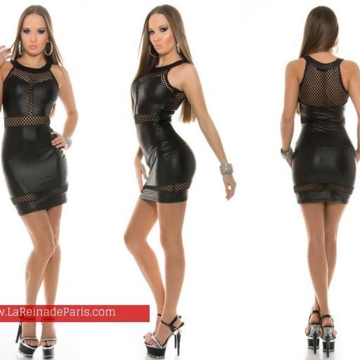 Mini vestido de piel negro ajustado   [2]