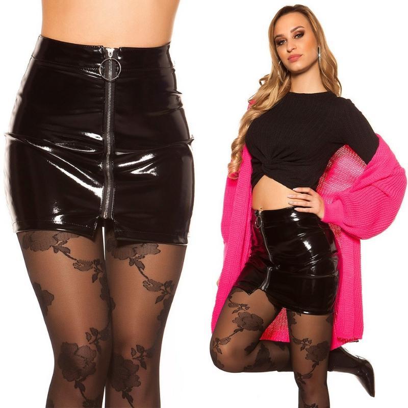 Mini falda vinilo con cremallera