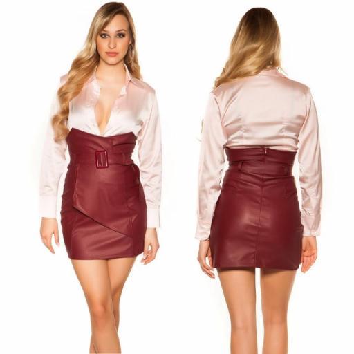 Mini falda de cintura alta burdeos