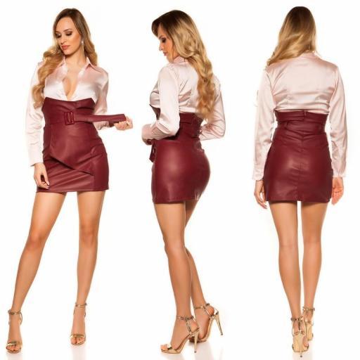 Mini falda de cintura alta burdeos [1]