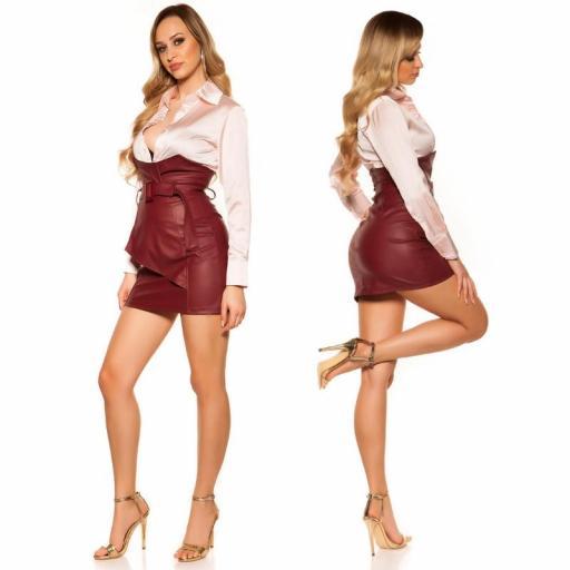Mini falda de cintura alta burdeos [2]