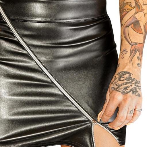 Mini falda cuero ajustada de cremallera  [2]