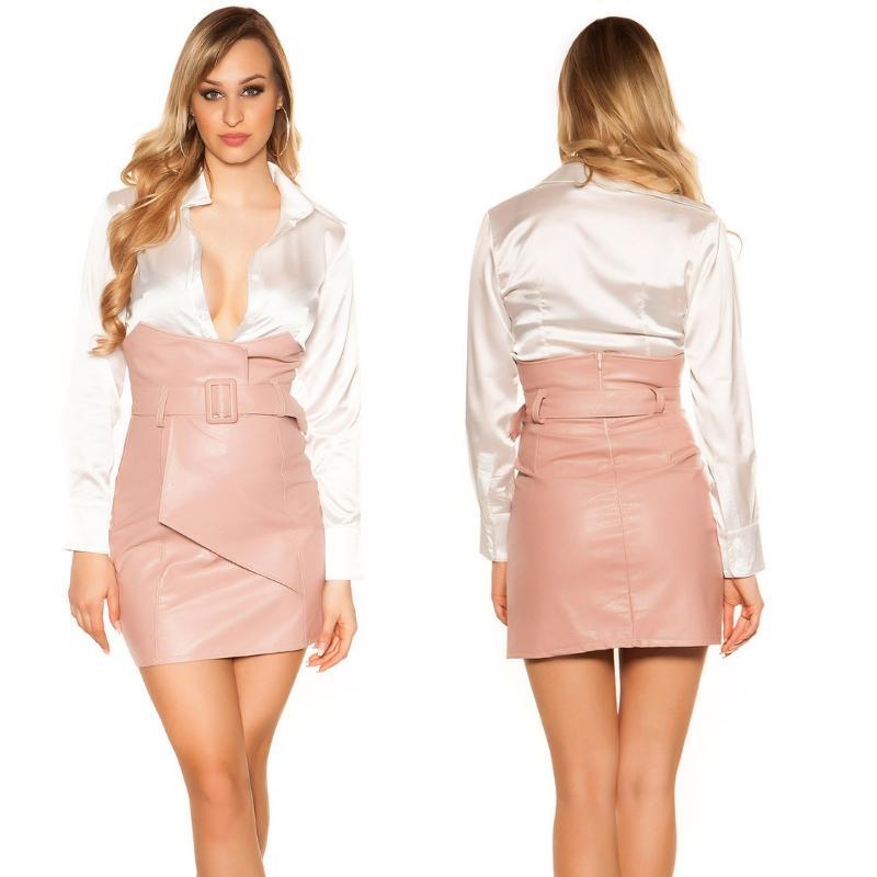 Mini falda de cintura alta rosa