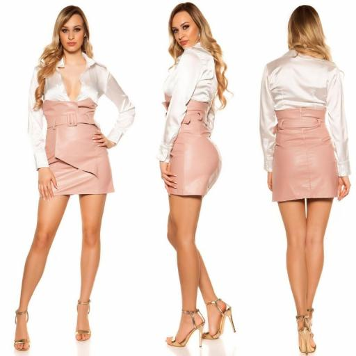 Mini falda de cintura alta rosa [1]