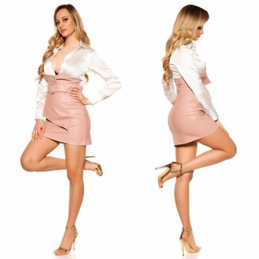 Mini falda de cintura alta rosa [2]