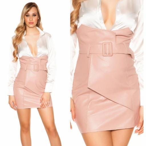 Mini falda de cintura alta rosa [3]