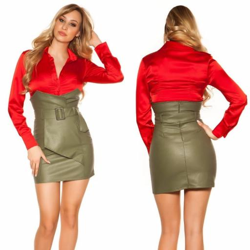 Mini falda de cintura alta kakhi [0]