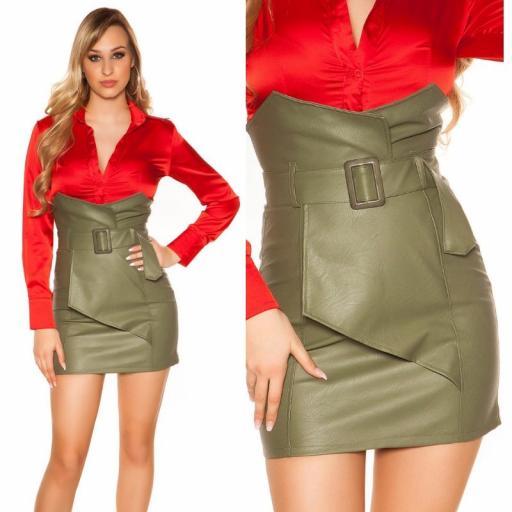 Mini falda de cintura alta kakhi [2]