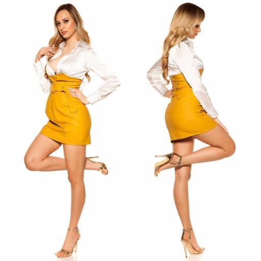 Mini falda de cintura alta mostaza [2]