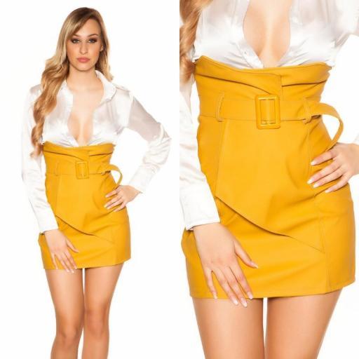 Mini falda de cintura alta mostaza [3]