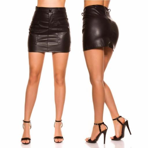 Mini falda de cuero negro con bolsillos [2]