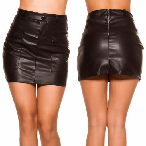 Mini falda de cuero negro con bolsillos [3]