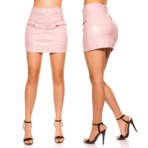 Mini falda de cuero rosa con bolsillos [1]
