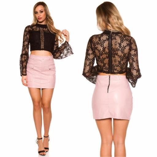Mini falda de cuero rosa con bolsillos [2]