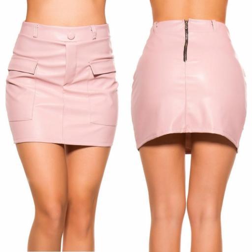 Mini falda de cuero rosa con bolsillos [3]