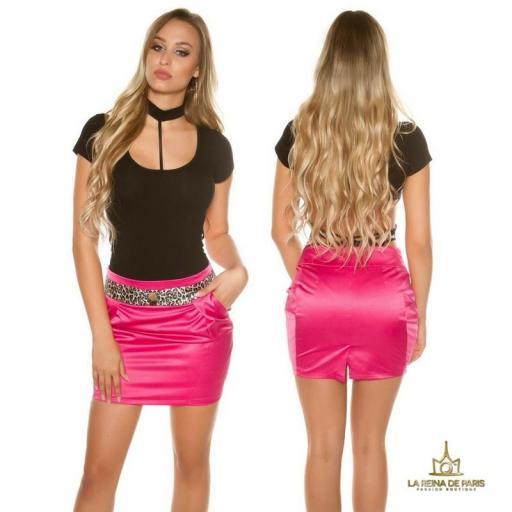 Mini falda fucsia con franja print