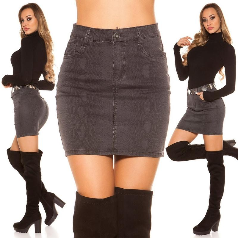 Mini falda jean serpiente print negro
