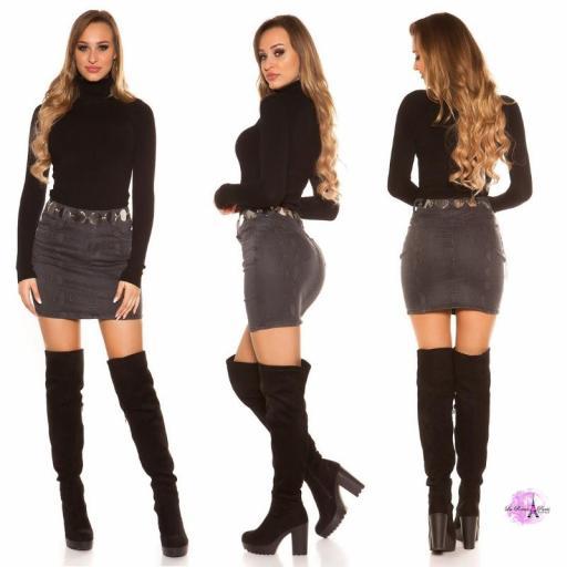 Mini falda jean serpiente print negro [1]