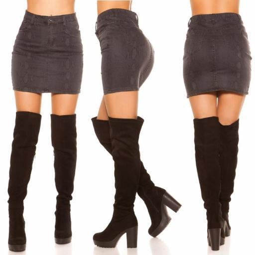 Mini falda jean serpiente print negro [2]