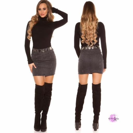 Mini falda jean serpiente print negro [3]