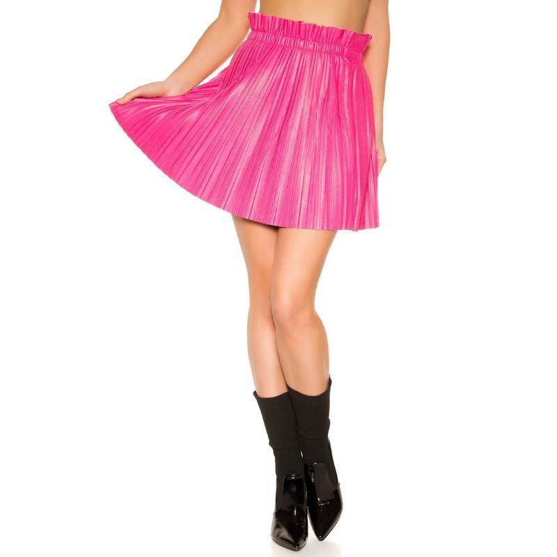 Mini falda plisada imitación cuero rosa