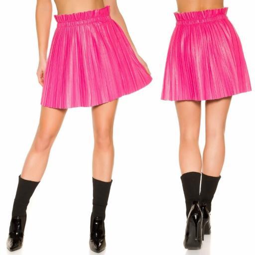 Mini falda plisada imitación cuero rosa [1]