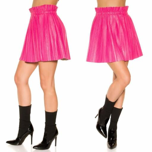 Mini falda plisada imitación cuero rosa [3]