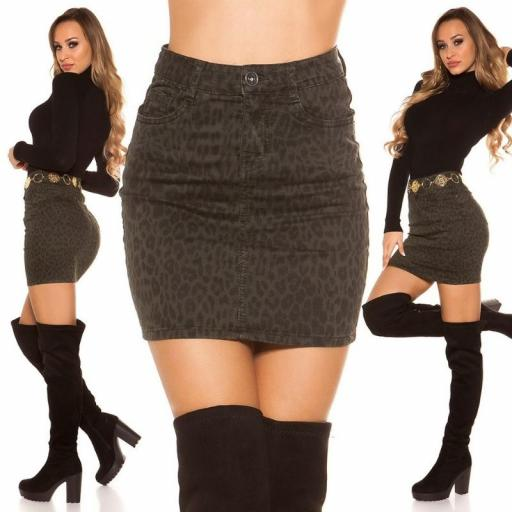Mini falda jean leopardo KH