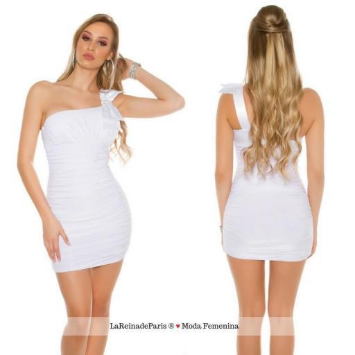 Mini vestido elegante a medio hombro