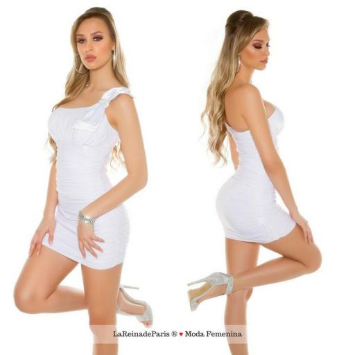 Mini vestido elegante a medio hombro [1]