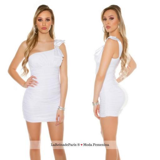 Mini vestido elegante a medio hombro [2]