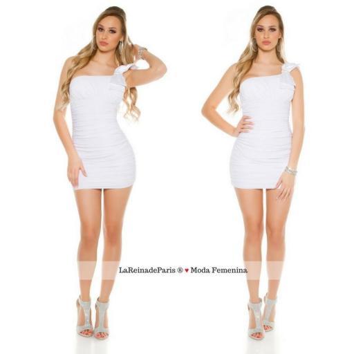 Mini vestido elegante a medio hombro [3]