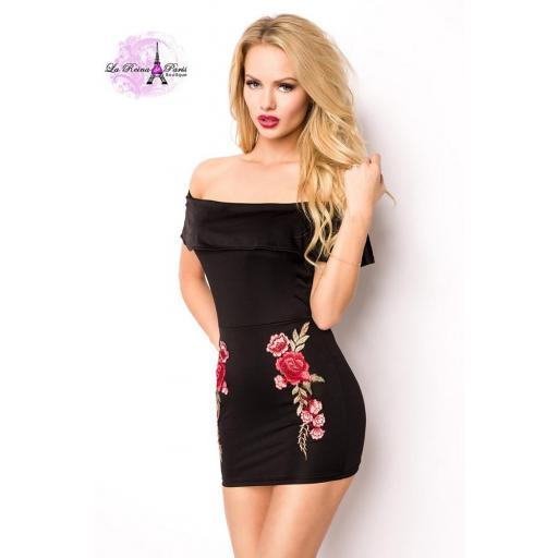 Mini vestido aplicaciones flores
